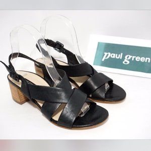 🆕Paul Green Strappy Heels Sandals Black Leather